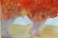 child's painting of autumn trees